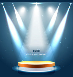 Gold stage with spotlight and star on blue vector