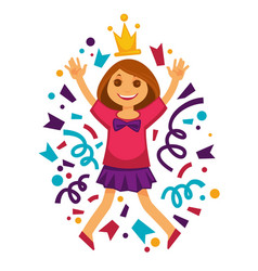 happy birthday girl princess confetti party vector image