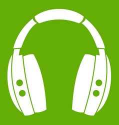 headphones icon green vector image vector image