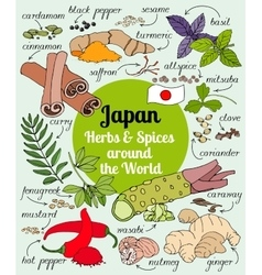 Japan herbs and spices vector