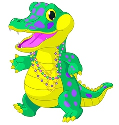 Mardi Gras Alligator vector image vector image