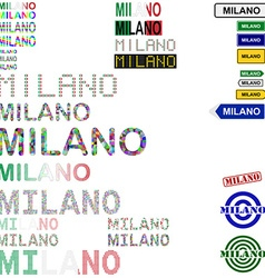 Milano text design set vector