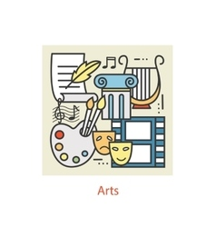 Modern thin line icons of art vector