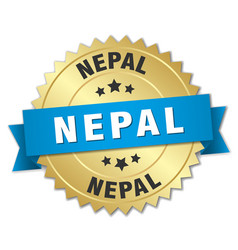 Nepal round golden badge with blue ribbon vector
