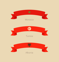 ribbon with flag of morocco tunisia and albania vector image vector image