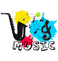 saxophone with word music in background vector image vector image