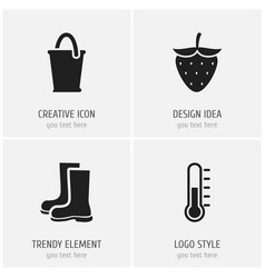 Set of 4 editable planting icons includes symbols vector