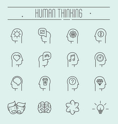 set of head thinking icons in modern thin line vector image vector image