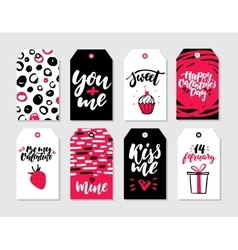 Valentines day gift tag set Collection of vector image vector image