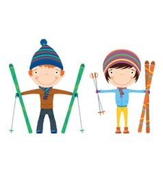 winter ski kids vector image vector image