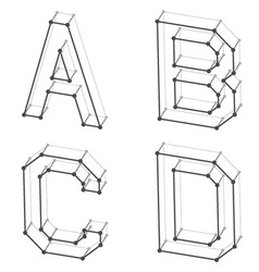 Wireframe font alphabet letters a b c d vector