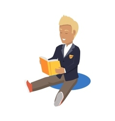 Young Blonde Haired Happy Student Enjoying Reading vector image