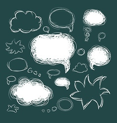 Set of scribble speech bubbles on a green vector