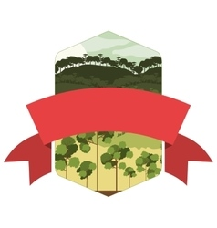 Frame mountain and valley with central ribbon vector