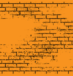 orange grunge brick wall vector image