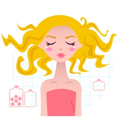 Beautiful spa blond girl in pink towel vector