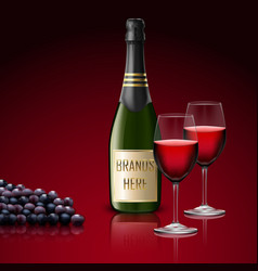 Two wineglass of champagne with bottle and grapes vector