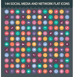 Social media and network flat icons vector image