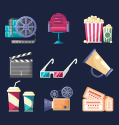 Set of flat colorful icons and elements with vector