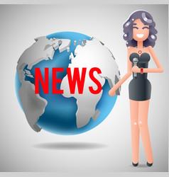 News journalist reporting reporter female girl vector