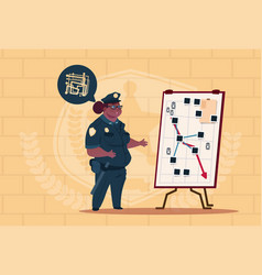 African american police woman planning action on vector