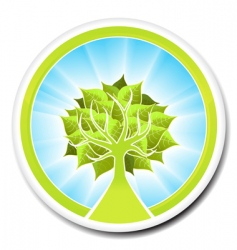 Ecological tree badge design vector