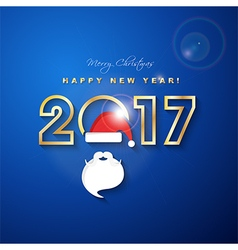 2017 Merry Christmas and Happy New Year with Santa vector image vector image