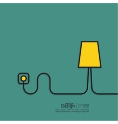 Floor lamp wire connected power outlet vector