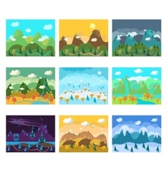 Landscape cartoon seamless backgrounds set vector