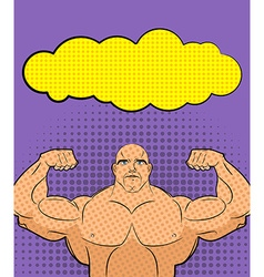 Bodybuilder pop art with bubble for retro c vector