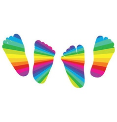 Happy rainbow childrens feet vector