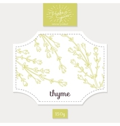Product sticker with hand drawn thyme leaves vector