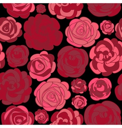 Pattern with red roses on black vector