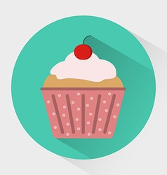Muffin with cream and cherry on top in dotted vector