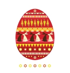 Easter egg with rabbits vector