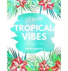 Bright hawaiian design with tropical plants and vector