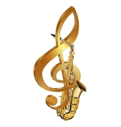Saxophone in a gold treble clef vector