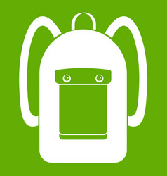 Backpack icon green vector
