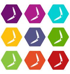 boomerang icon set color hexahedron vector image vector image