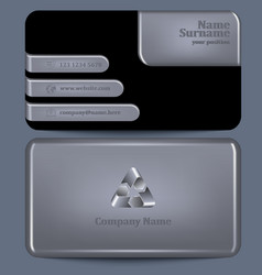 Business card with silver elements vector