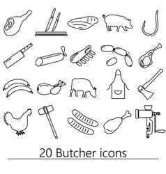 Butcher and meat shop black outline icons set vector