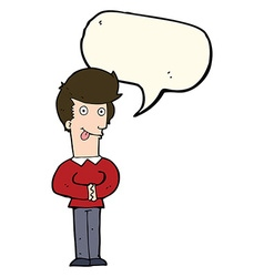 Cartoon man sticking out tongue with speech bubble vector