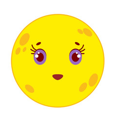 Cartoon yellow moon smiling on white background vector