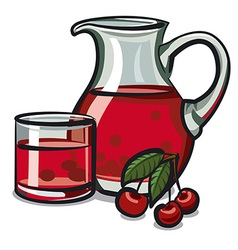 cherry drink vector image vector image