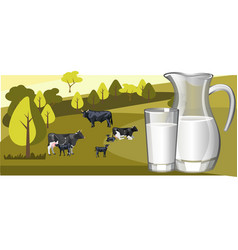 fresh natural milk with cow vector image vector image