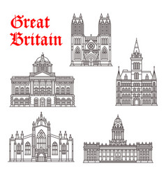 Great britain architecture landmarks icons vector