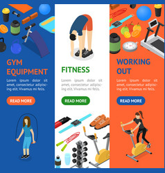 gym exercise equipment banner vecrtical set vector image