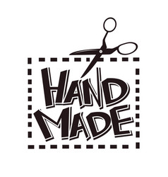 hand made label tag scissors stitch for vector image vector image