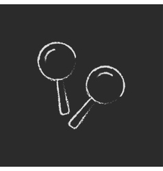 Maracas icon drawn in chalk vector