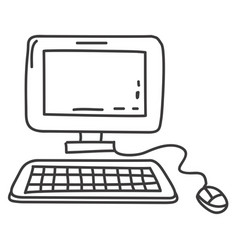 Monochrome contour of desktop computer vector